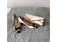 Ladies size 6 Nude and Black Shoes and Handbag