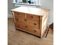 Pine chest of drawers. Continental furniture. Vintage pine drawers.(1581)