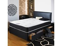 Leather divan base with memory sprung mattress ** Free mtching headboard**