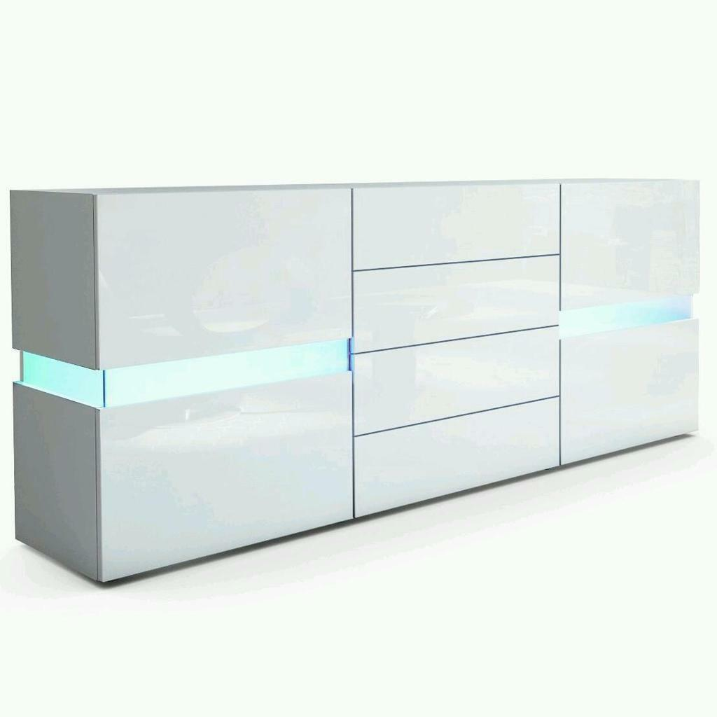 Sideboard Chest of Drawers Flow in White Matt White High Gloss with LED Lights in Mile End