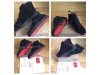 Christian Louboutin Black Suede Unisex Men Women's Boys Girls Trainers Sneakers Shoes Footwear Loubs