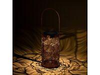 NEW Robotime Solar Powered Lanterns Outdoor, Retro Metal Hanging Warm White (Dark Golden)