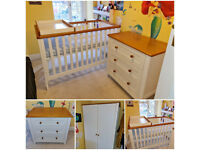 Mothercare Summer Oak Nursery Furniture Set - Wardrobe, Cot/Cot Bed & Chest of Drawers