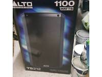 boxed PAIR OF ALTO TS 212 ACTIVE SPEAKERS WITH PADDED ALTO BAGS AS NEW CONDITION KEPT AS BACK UP