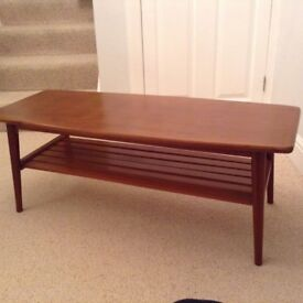 Teak Long John style Coffee Table, 60-70's style. Rewaxed & re-polished.