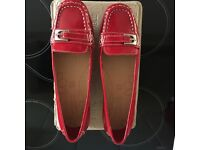 BRAND NEW. M & S red patient flat shoes. Size 6 £15.00