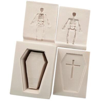 Coffin Halloween Cake (4pcs 3D Halloween Coffin Cross Skeleton Silicone Mold Cake Dessert)