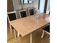 Extending dining table, side board, mirror and 5 chairs