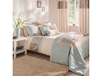 CATHERINE LANSFIELD BORDER PATCHWORK DOUBLE DUVET COVER SET DUCK EGG RRP: £54.99