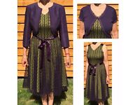 Jacques Vert Amethyst/Peridot Green Dress (10), Bolero Jacket (12) Shrug (Small) Formal Occasion