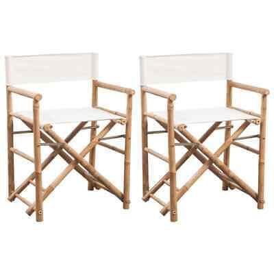 vidaXL 2x Sillas Plegables de Director Jardín Estructura Bambú y Lona Blanca