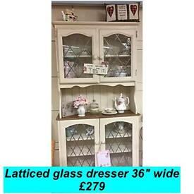 Vintage, country shabby chic latticed glass dresser REDUCED