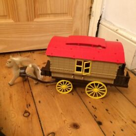 Sylvanian Families Caravan with kitchen, camping accessories, bicycle & pony