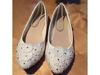 Ivory ballet wedding flat shoes NEVER been worn