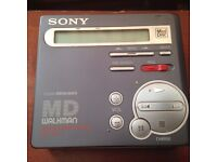 Sony MZ-R70 mini disc player with 16 discs in wallet