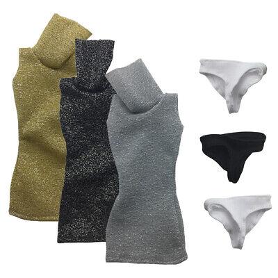 - 1/6 Scale Turtleneck Bodycon Mini Dress & Briefs Set for 12 INCH Action Figures