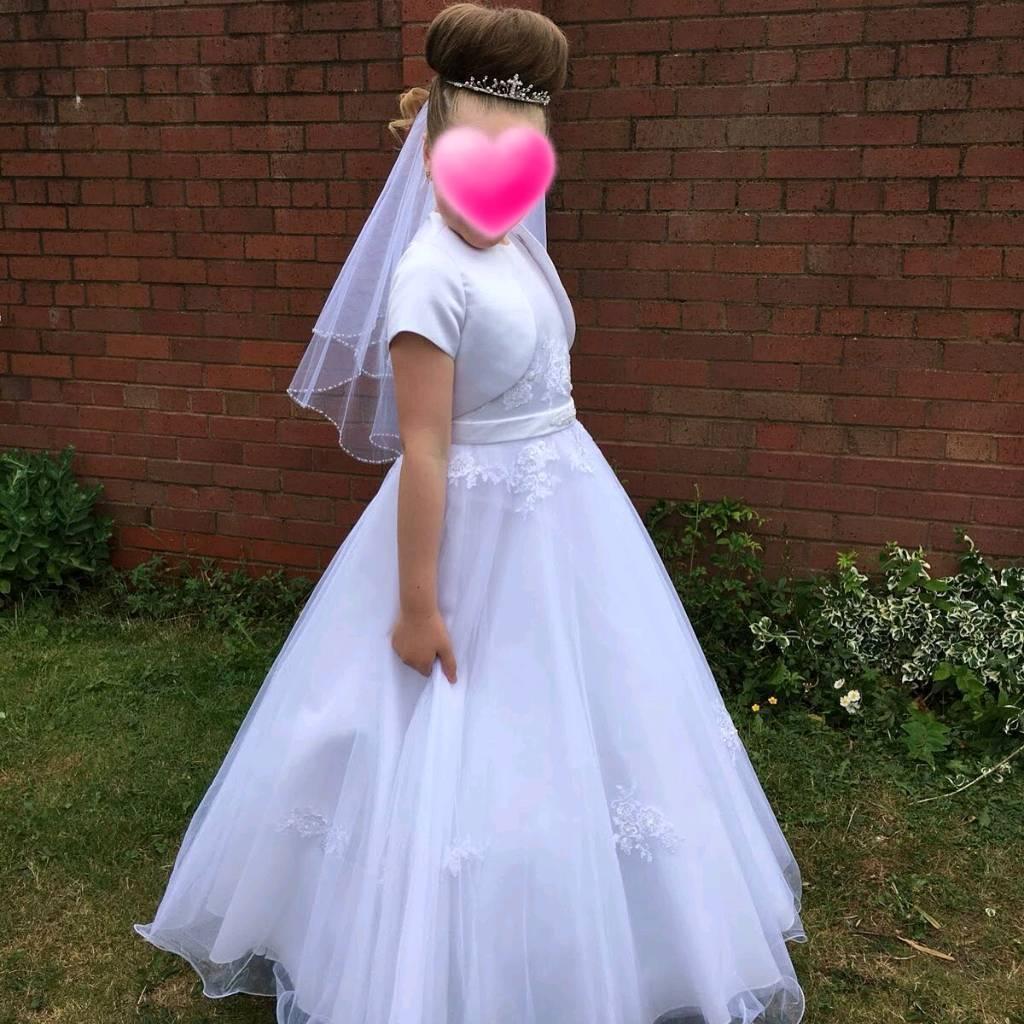 Communion dress veil tiara belero