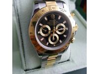 2Tone ROLEX Gold bezel Black Face Comes Rolex Bagged and Boxed with Paperwork.
