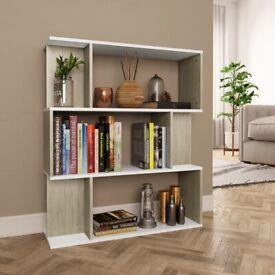 Book Cabinet/Room Divider White and Sonoma Oak 80x24x96cm-800086