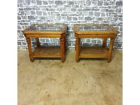 2x Vintage Glass Top Coffee Tables