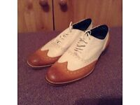 Men's tan and cream brogues size 8 (42) office
