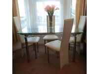 Glass Chrome Dining Table Savannah Extending Seats 4-10