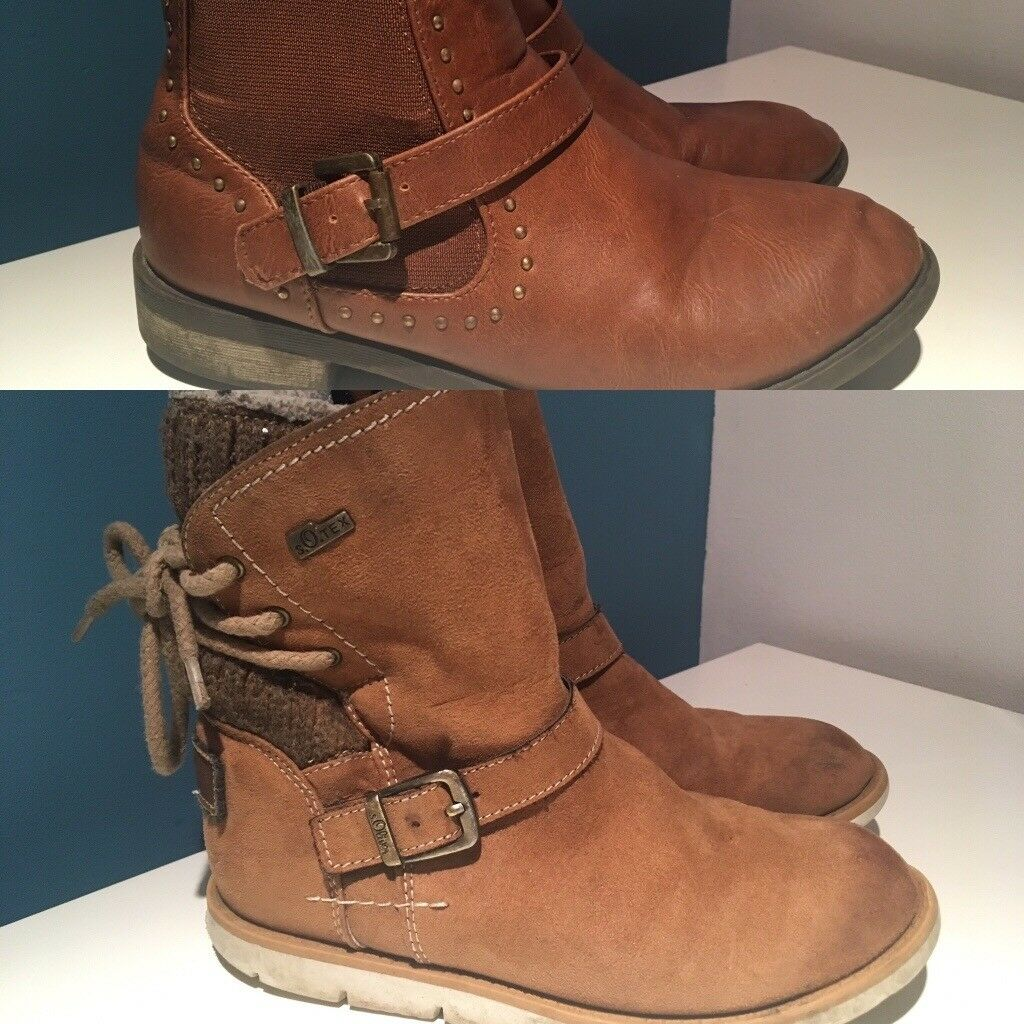Two pairs size 1 (33) girls boots S Oliver / F&F