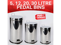 Stainless Steel Bin Kitchen Waste Bin with Pedal Garbage Rubbish 3 5 12 20 Ltr