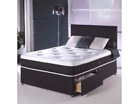 FAST LONDON DELIVERY -DOUBLE BLACK DIVAN BASE WITH MEMORY FOAM ORTHOPEDIC MATTRESS
