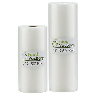 8X50 & 11X50 FoodVacBags Rolls Embossed Vacuum Sealer Bags for FoodSaver machine