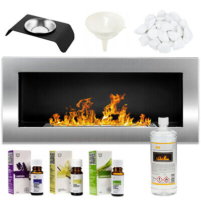 BIO ETHANOL FIREPLACE WALL MOUNTED 900x400 ECO FIRE BURNER Silver + ACCESSORIES