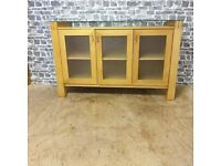 Glass Top Oak Sideboard Excellent Condition