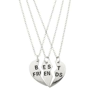 Lux Accessories Best Friends BFF Forever Valentine Heart 3 PC Necklace Set. - Valentine Accessories