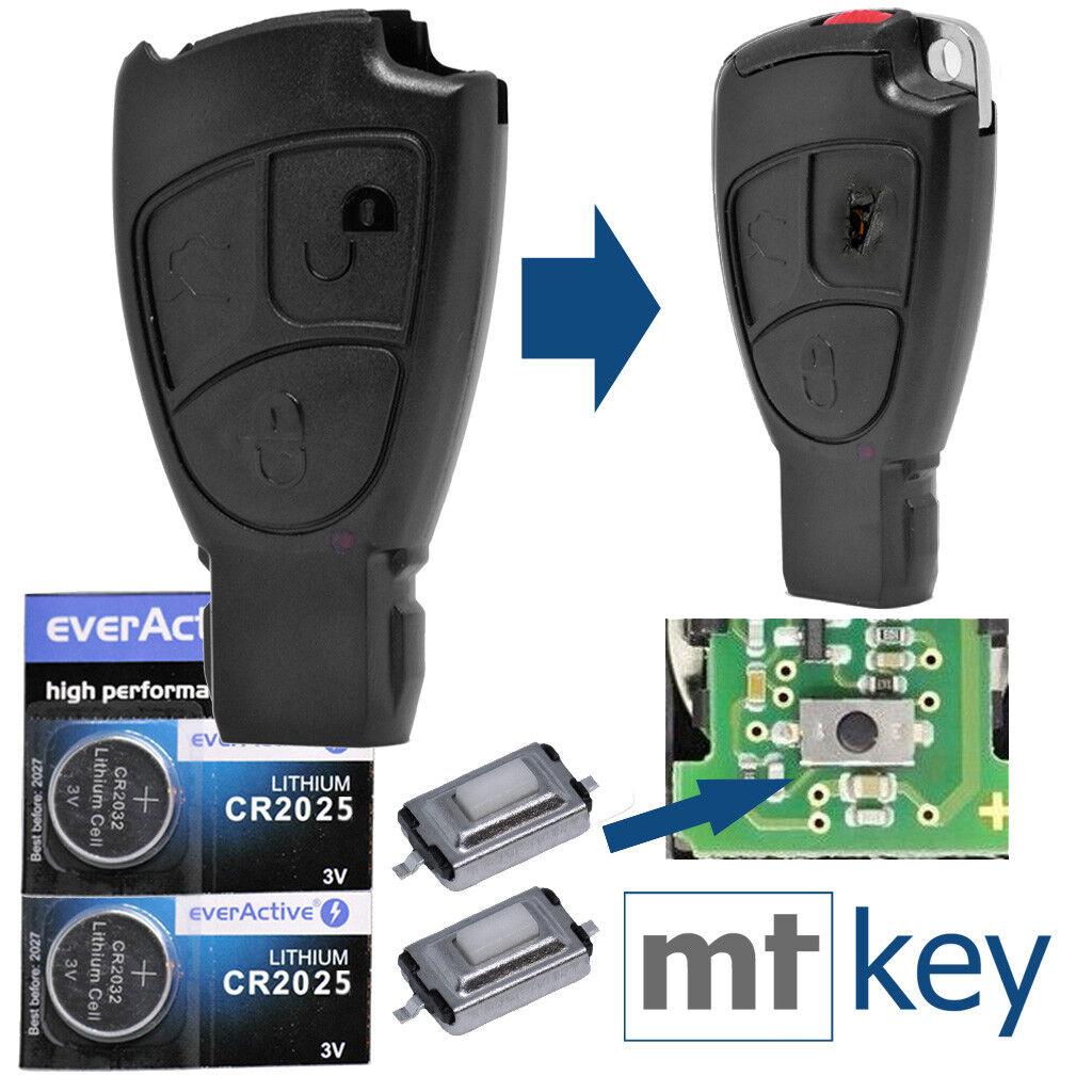 Zünd Schlüssel Smartkey Gehäuse 3 Tasten Funkschlüssel Mercedes Benz 2x Batterie
