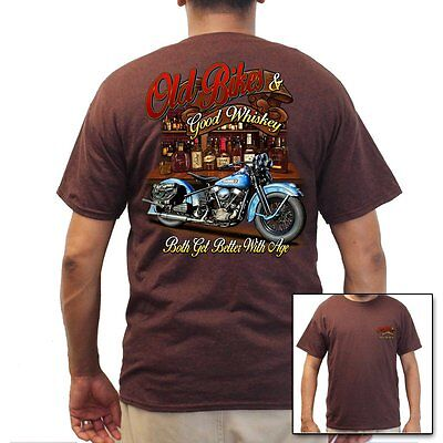 Mens Biker T-Shirt  Brown- Old Bikes & Whiskey Motorcycle Shirts Better With (Best Biker T Shirts)