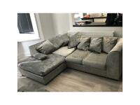 *REDUCED* Grey Crushed Velvet Sofa Left L Shape Corner and 2 Seater from Sofa Club New Used Cheap