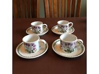 Portmeirion Botanic 4 small coffee cups & saucers