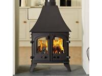 Double sided Fronted wood burner fire stove villager/yeoman