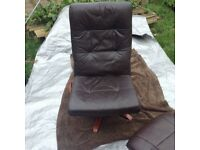 2 items, leather swivel chair and leather stool