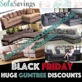 Black Friday HUGE DEALS AVAILABLE MASSIVE DISCOUNTS CHEAP FABRIC CORNER SOFAS