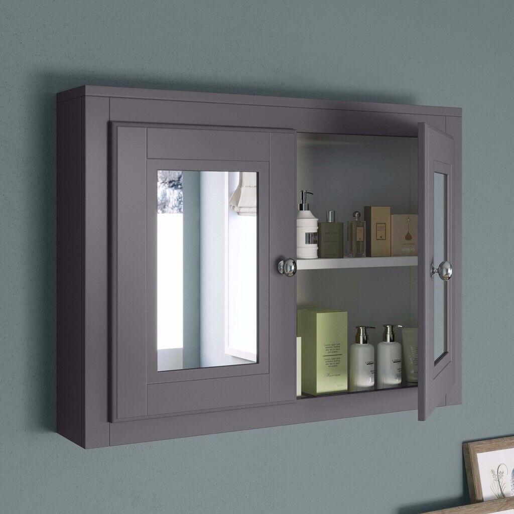 Bathroom Mirror Cabinet - Cambridge Midnight Grey 800mm(w ...