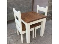 Chunky Rustic solid timber Table with Two chairs, painted