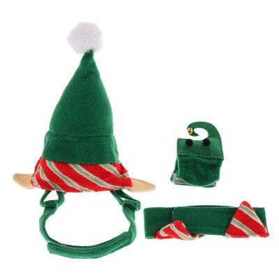 4Pcs Hundekatze Kostüm mit Weihnachtself Hut Kragen Bein Stulpe (Hund Kostüme Mit Beinen)
