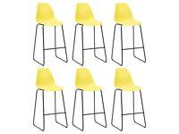 Bar Chairs 6 pcs Yellow Plastic-279658