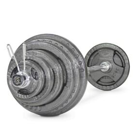130kg Cast Iron Olympic Weights Set - Weights Gym Barbell