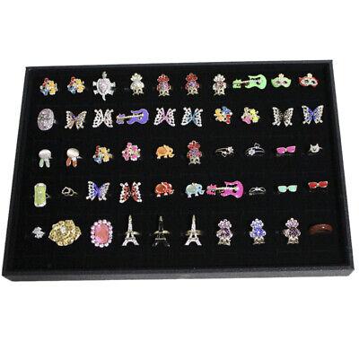 100 Slots Grid Velvet Ring Earring Ear Pin Brooch Storage Display Box Tray