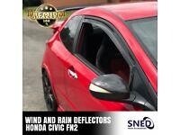 Honda Civic FN2 3DR inc Type R SNED In Channel Internal Wind & Rain Deflectors