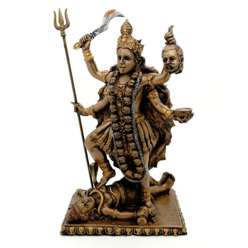 "KALI STATUE 8.75"" Hindu Mother Goddess of Destruction GOOD QUALITY Bronze Resin"