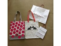 2 x Radley designer tote shopper bags with 2 matching Radley gift bags