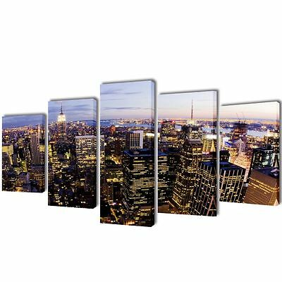 Wall Decor Canvas Print Art Framed 5 Panels 39  Abstract Painting Nyc Skyline